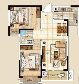 色彩斑斓迎宾路三号89平方两室两厅室内效果图美式风格小户型