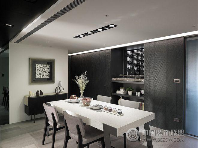 黑白灰冷色调三居装修效果图-餐厅装修效果图-八六()
