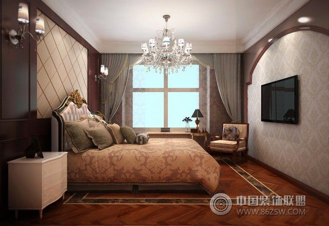 大气优雅欧式别墅设计图-卧室装修效果图-八六(中国)