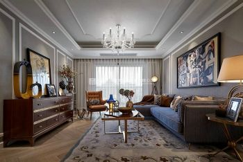 东方鼎盛御府142平方美式风格装修设计欧式风格三居室