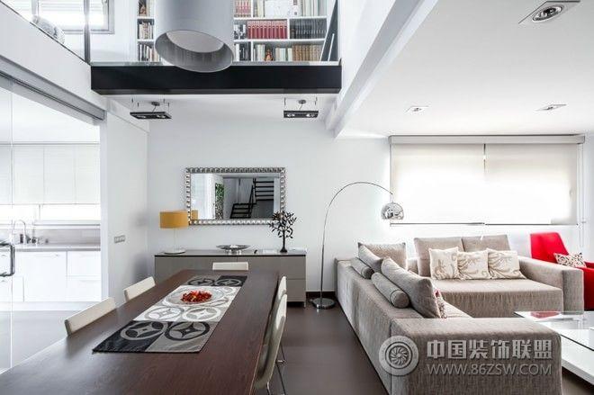 灰白色淡雅家居空间设计-客厅装修效果图-八六(中国)