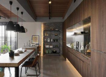 现代工业风二居装修效果图现代厨房装修图片
