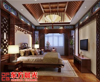 中式四合院室内设计-卧室中式风格别墅