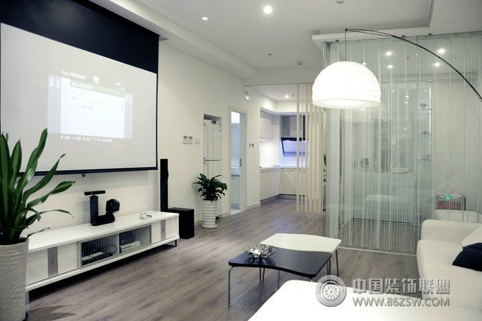 現代簡約高檔公寓設計案例-客廳裝修圖片
