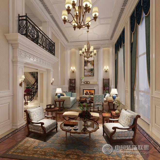 600平米美式私人别墅设计图-客厅装修效果图-八六()