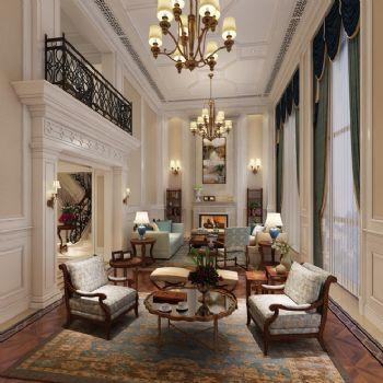 145平米美式摩登豪宅设计-客厅装修效果图-八六