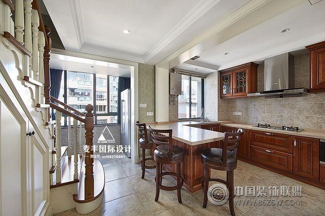 【麦丰装饰】160平米美式装修案例-厨房装修图片图片