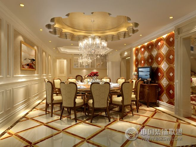 欧式精品奢华别墅设计图-餐厅装修效果图-八六(中国)