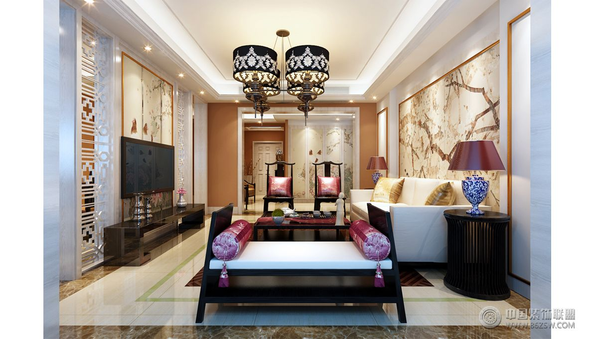 135平米新中式三居设计图-客厅装修图片
