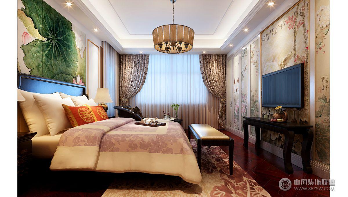 135平米新中式三居设计图-卧室装修效果图-八六