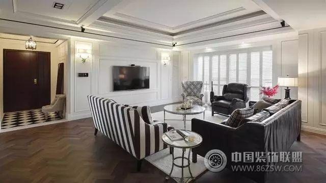 黑白配美式新古典设计-客厅装修效果图-八六(中国)