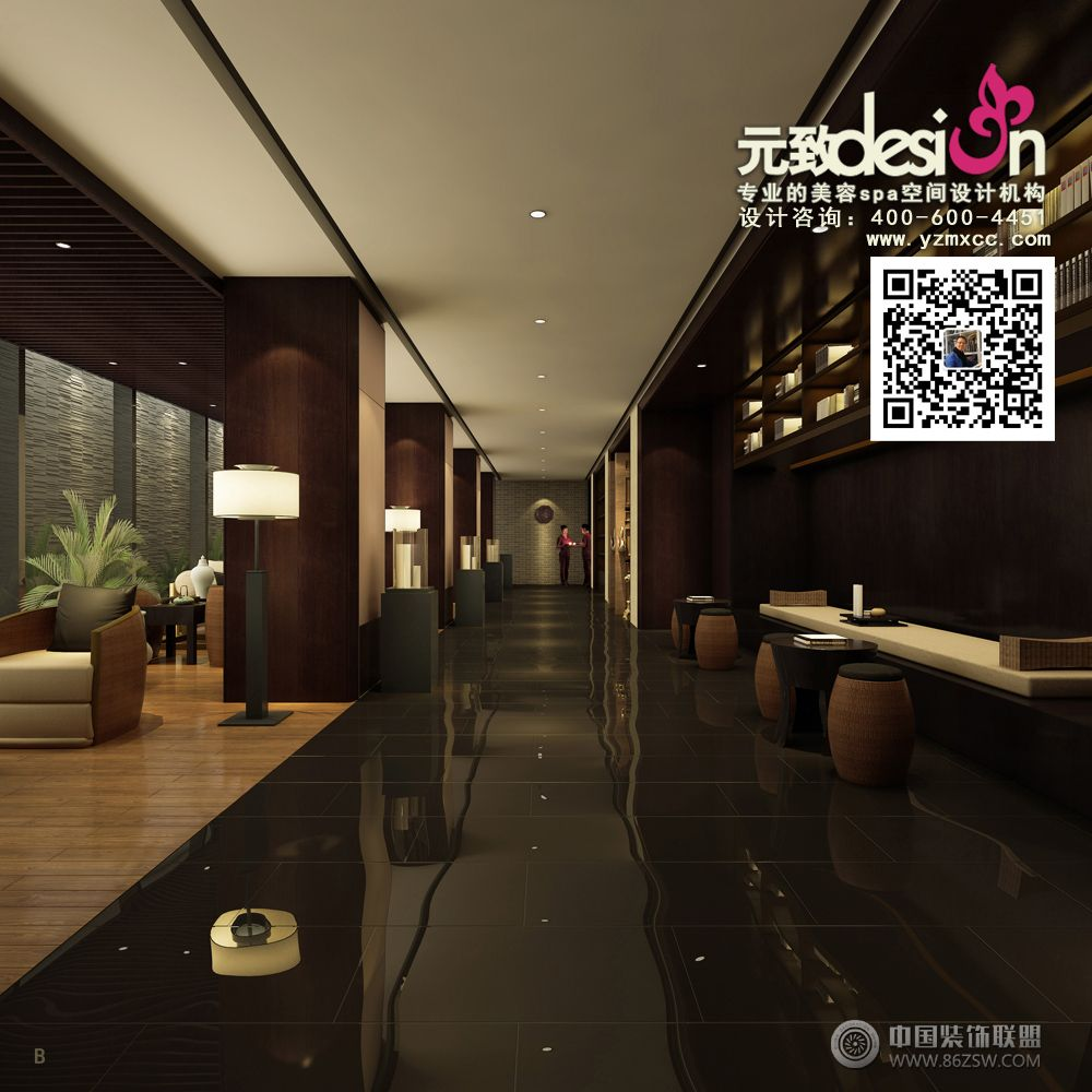 中式养生会所装饰设计-客厅装修效果图-八六(中国)(.图片