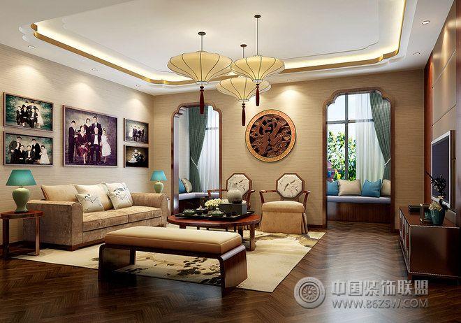 中式茶禅别墅设计图欣赏-客厅装修图片