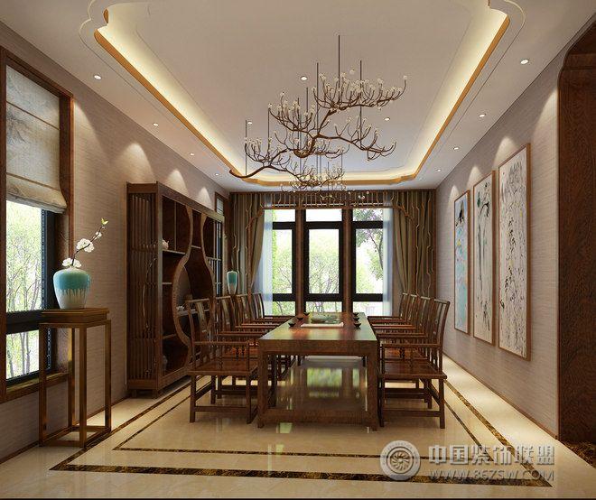 中式茶禅别墅设计图欣赏-餐厅装修图片