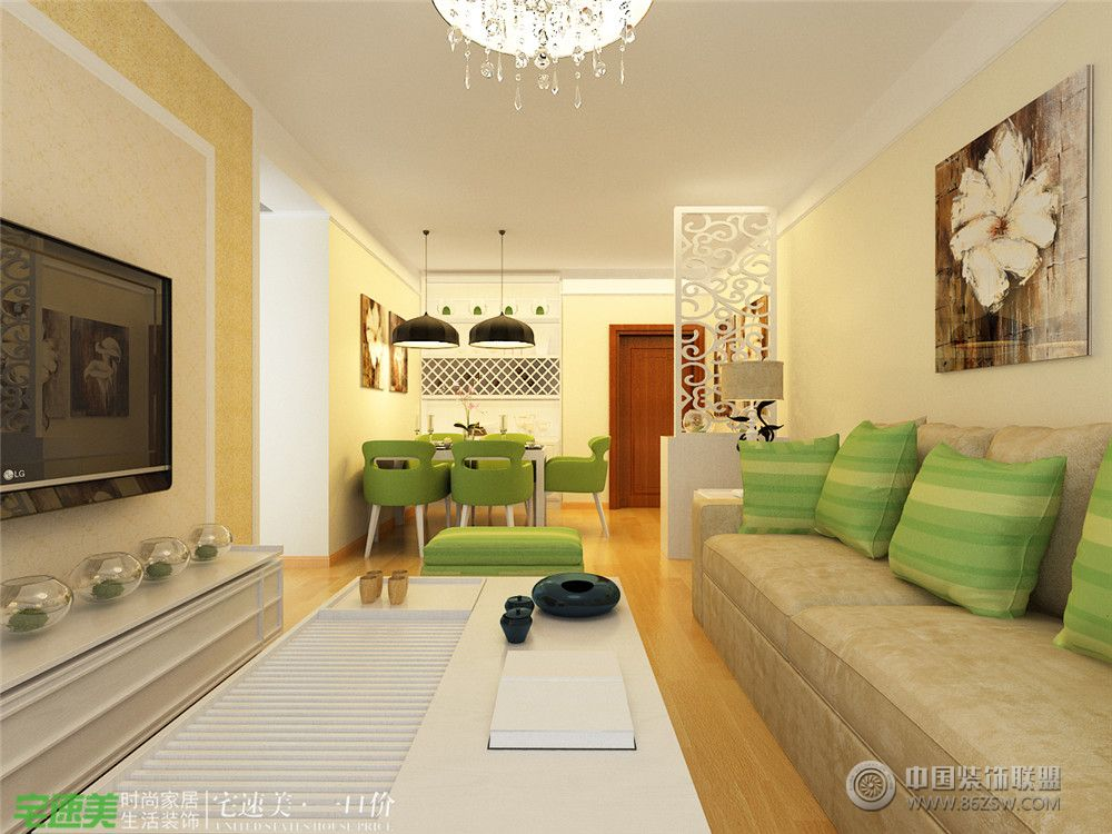 客厅面积:95平米 费用:5-10万户型:小户型 居室:二居室色调:黄色 设计