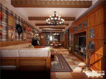 兰州实创装饰山水兴城123㎡美式美式风格二居室