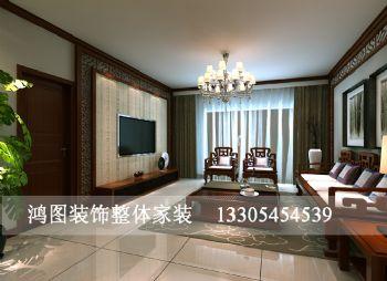 上海滩花园装修案例中式风格三居室