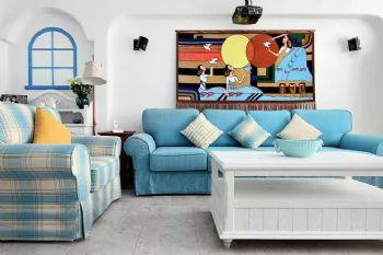 邯鄲實創裝飾中央名都100㎡風情地中海三居,給你純凈的蔚藍生活!