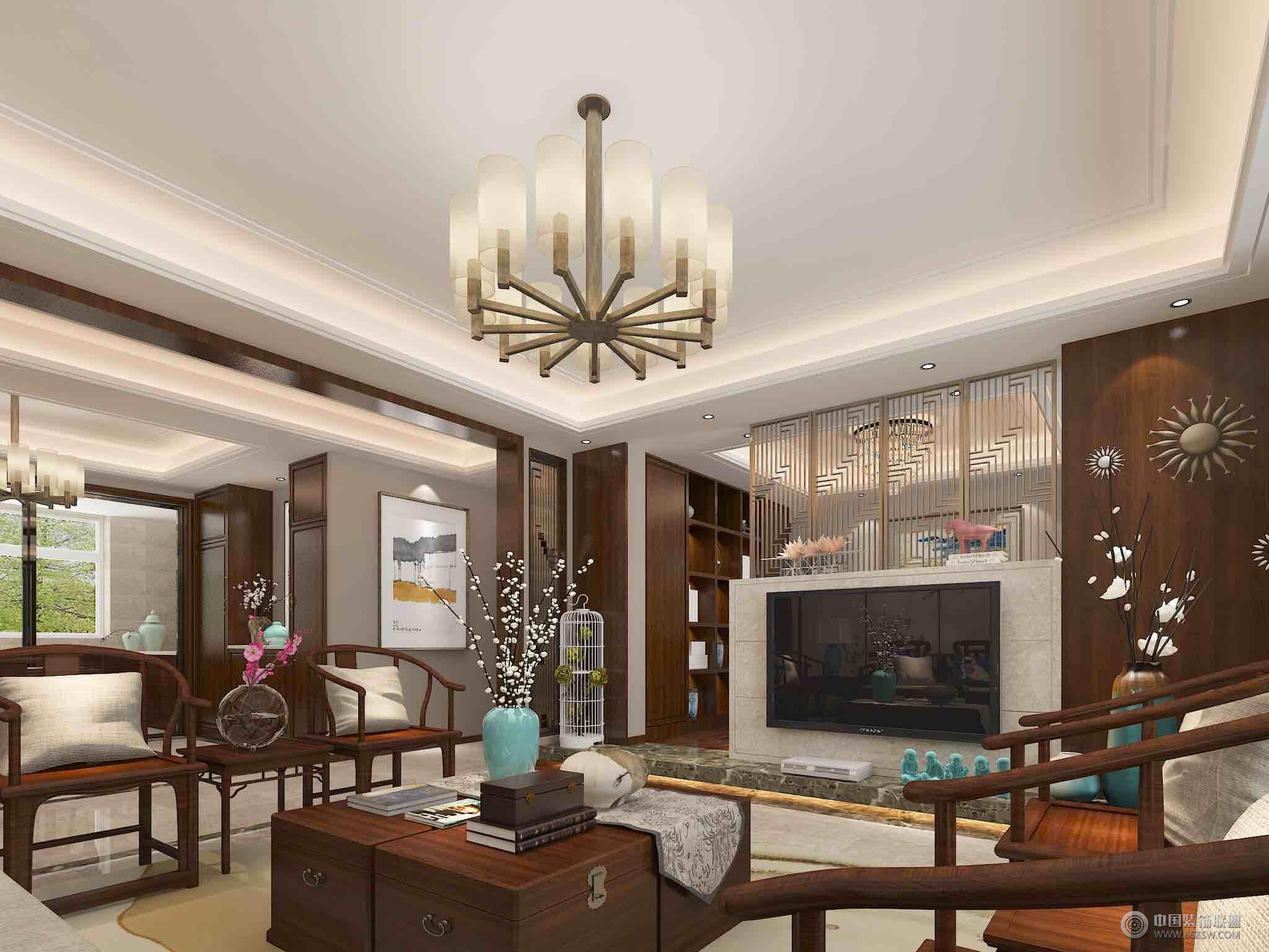 现代中式大户型设计案例-客厅装修图片