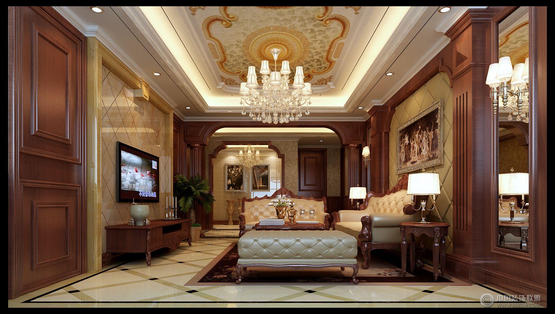 欧式风格别墅软装设计案例-客厅装修图片