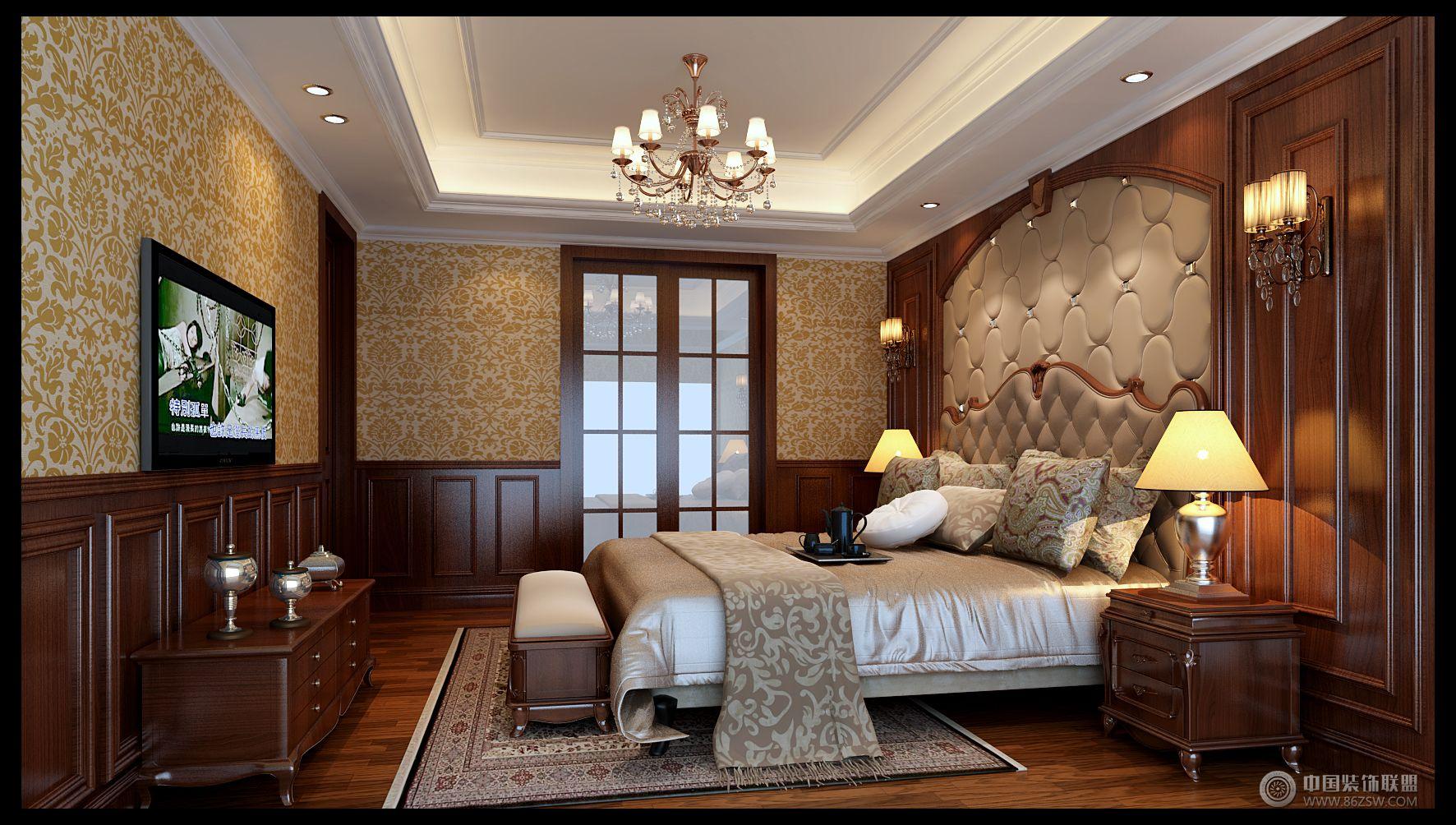 欧式风格别墅软装设计案例-卧室装修效果图-八六