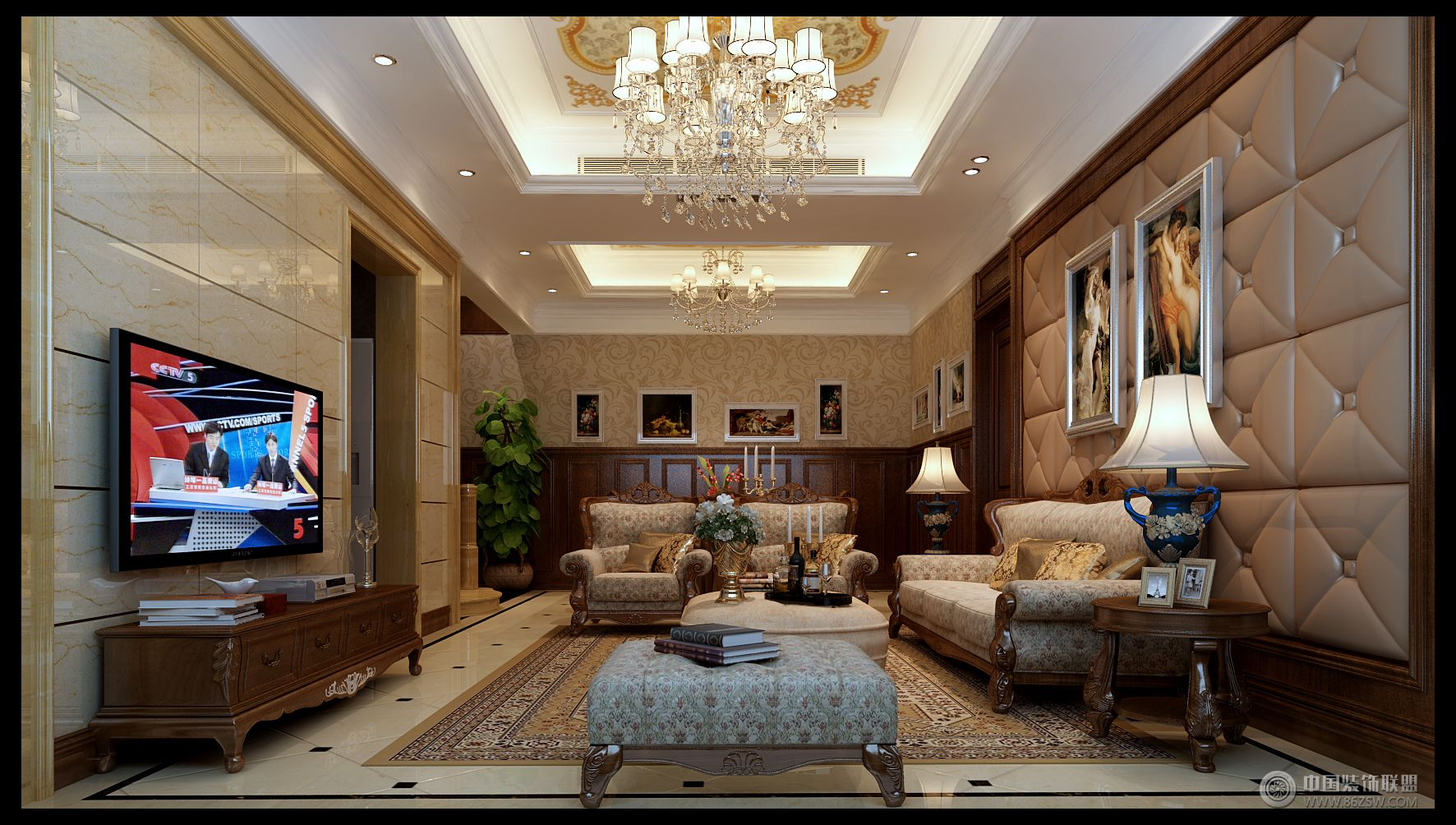 欧式风格别墅软装设计案例-客厅装修效果图-八六