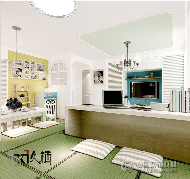 现代蓝色小户型设计图-书房装修图片