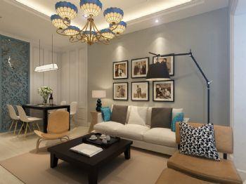 美式93平米兩居設計圖美式客廳裝修圖片