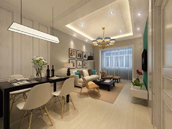 美式93平米兩居設計圖美式餐廳裝修圖片