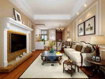 美式风格88平米装修效果图美式客厅装修图片
