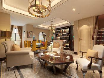 240平米新中式风格别墅设计图中式客厅装修图片