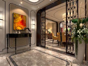 240平米新中式风格别墅设计图中式过道装修图片