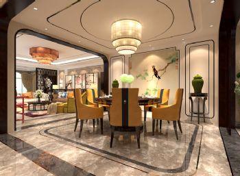 240平米新中式风格别墅设计图中式餐厅装修图片