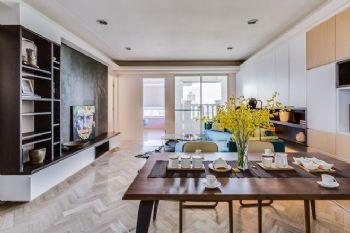 明亮色彩簡約三居裝修案例現代餐廳裝修圖片