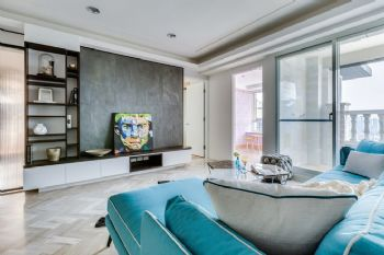 明亮色彩簡約三居裝修案例現代客廳裝修圖片