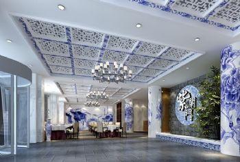 青花瓷主题茶餐厅装修设计