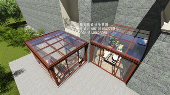 D3329阳光房设计效果图美式风格别墅