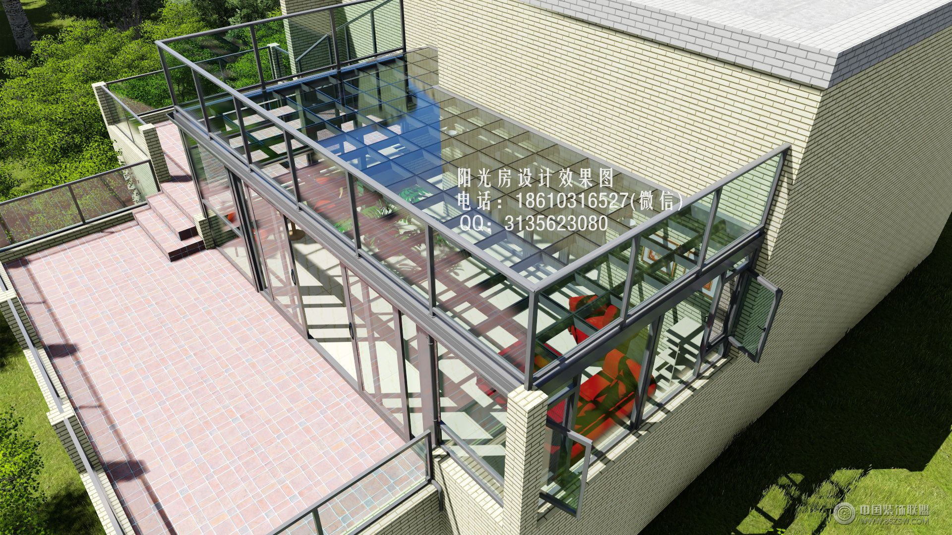d8516平顶阳光房设计效果图-客厅装修图片