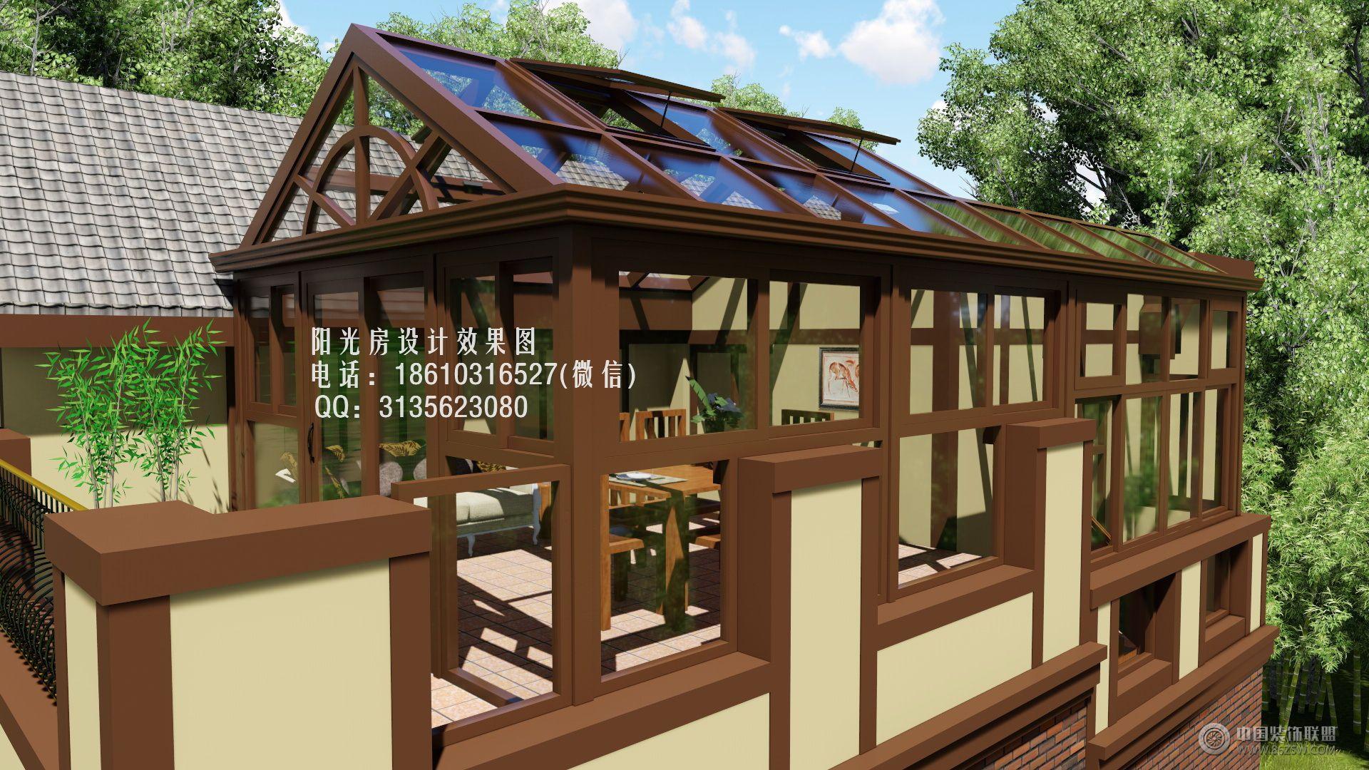 d6910露台人字顶阳光房设计效果图-客厅装修图片