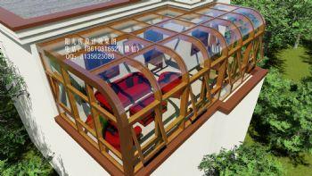 D7301弧形阳光房设计效果图中式风格别墅