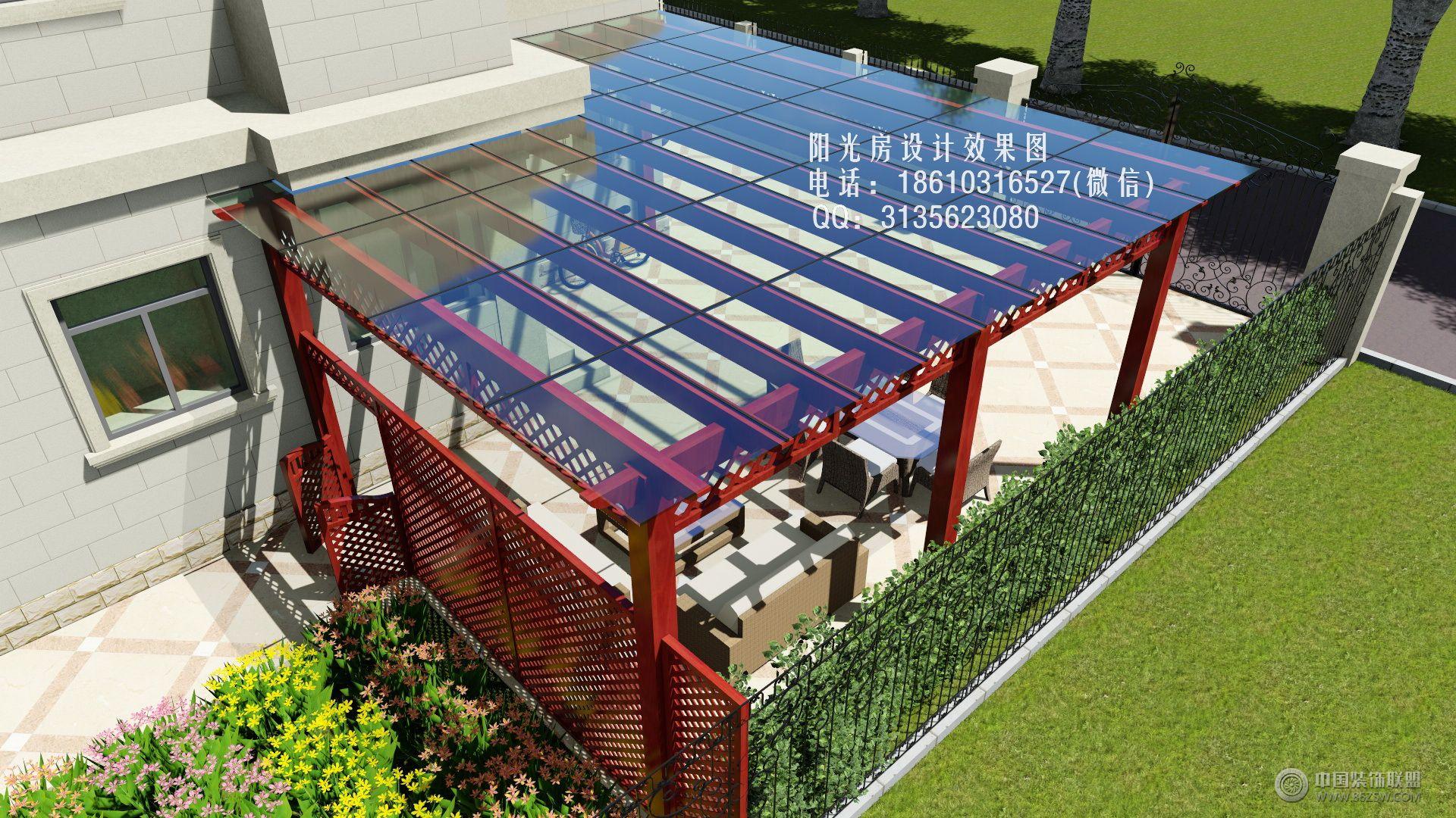 玻璃雨棚葡萄架设计效果图-客厅装修图片
