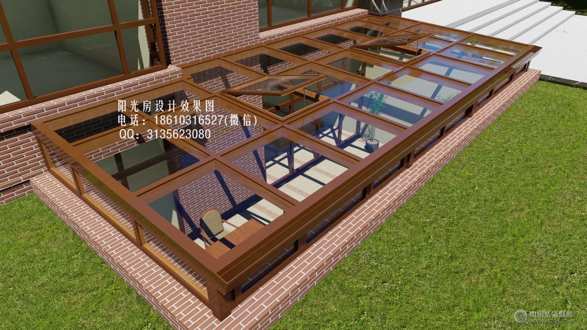 下沉式庭院阳光房设计效果图_中式复式装修效果图_八图片