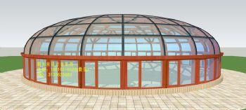 D7615天穹顶阳光房设计效果图简欧式风格错层