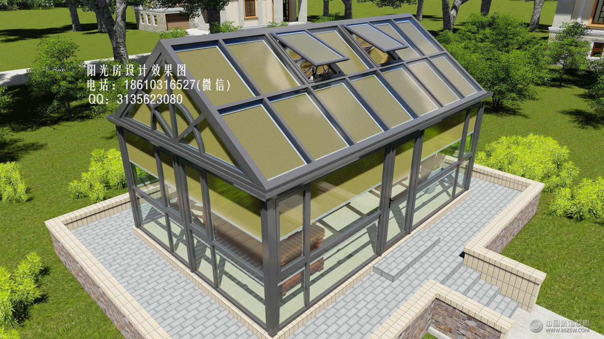 阳光房蜂巢帘设计效果图-客厅装修图片
