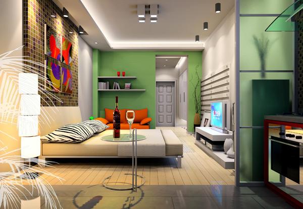 臥室效果圖片_現代小戶型裝修效果圖_八六(中國)裝飾