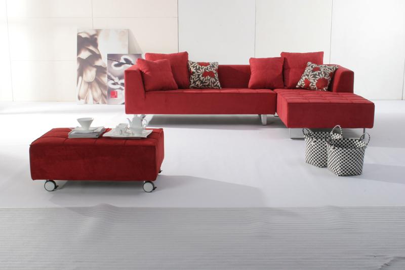 欧式酒红色沙发效果
