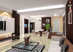 一套家装的客厅和餐厅效果图