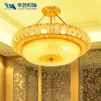 华艺灯饰 现代奢华 黄色水晶灯客厅餐厅吊灯 卧室书房灯具