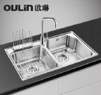 欧琳水槽80460厨房洗菜盆304不锈钢水槽加厚双槽套餐