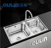 欧琳水槽厨房洗菜盆8212A 304不锈钢水槽加厚双槽